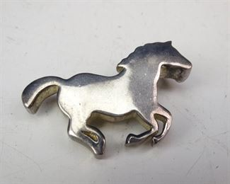 Silver Colored, Galloping Horse Pin