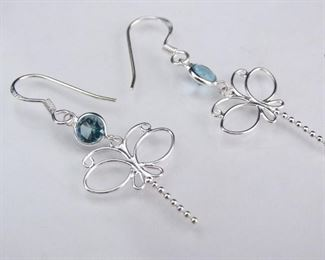 Sterling Silver Butterfly Dangle Earrings with Synthetic Blue Topaz Stones