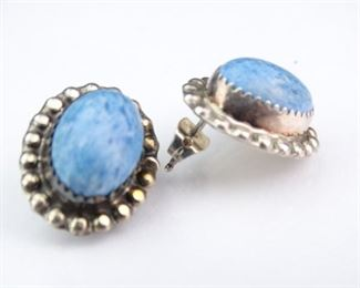 Sterling Silver Post Earrings w Blue Robins Egg Stones