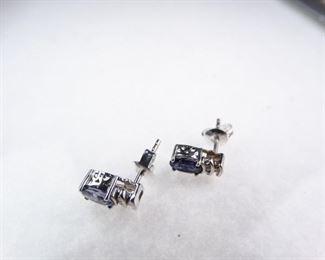 Sterling Silver, Diamond, Amethyst Earrings