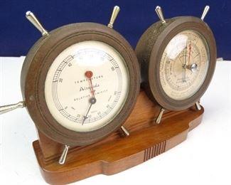 Air Guide ThermometerBarometerHygrometer Ships Wheel Desk Set