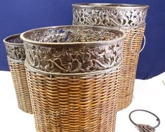 Wicker Baskets w Iron Trim, Wrought Iron Keys and Ring, Faux Fruit Assembly