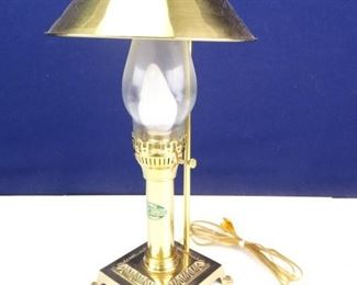 Brass Electric Hurricane Lamp with Matching