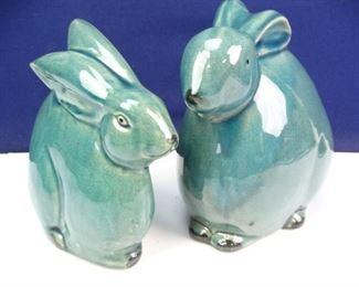 Blue Ceramic Bunnies
