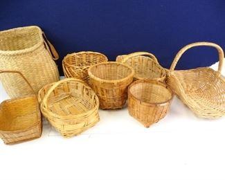 Assorted Wicker Woven Baskets (8)