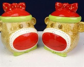 Real Home Earthenware Sock Monkey Cookie Jars