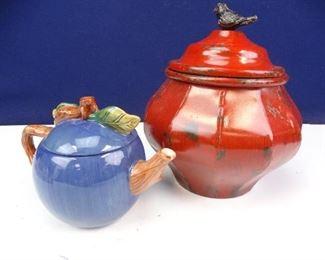 Red Metal Kitchen Jar w Bird Lid Blue Porcelain Apple Tea Kettle