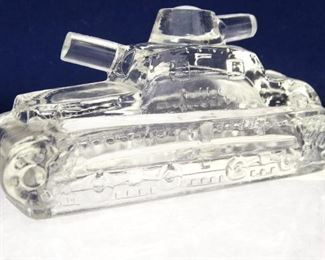 Victory Glass Pressed Glass Army Tank Candy Container