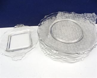 Heisey 8 Etched Rose Salad Plates