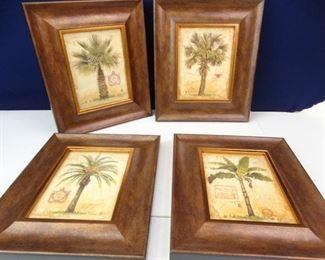 Thick Framed Tropical Palm Tree Prints Set