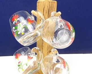 Decorative Glass Drinkware with Wood Display Stand