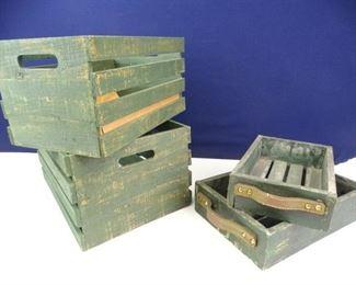 Green Cedar Storage Boxes