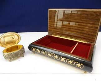 Wooden Jewelry Box Metal Hummingbird Music Box