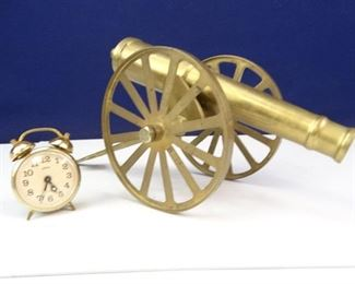 Vintage Brass Cannon Replica Linden Brass Alarm Clock