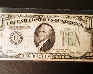 Series of 1934 C Washington DC 10 Dollar Bill