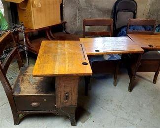 3 Vintage Children's School Desks
