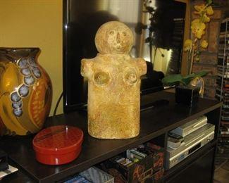 Glazed pottery vase, Bento box, primitive woman jar