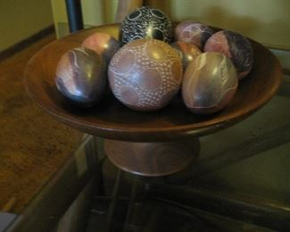 Carved wooden bowl and soapstone Kenyan eggs