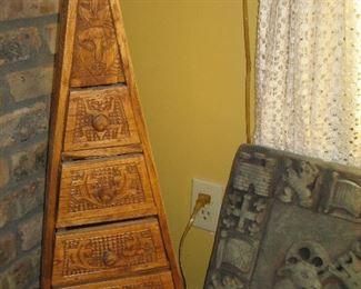 Carved wood triangular box, decorative shield