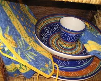 Decorative pottery and linens