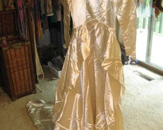 1940s wedding gown (with veil) worn by women in previous photo