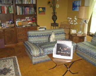 3-piece wood shelf unit containing books, retro sofas
