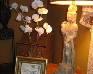 Asian figure lamp (one of a pair)