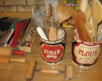 Kitchen utensils, flour and sugar canisters