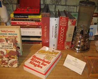Cookbooks and vintage blender