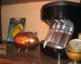 Copper piggy bank and coin counter, golf ball alarm clock