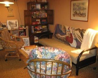 Rattan furniture, futon, throws