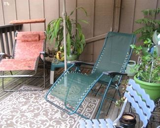 Zero gravity patio chairs, all weather rug