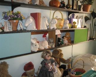 60s shelving with holiday items and collectibles