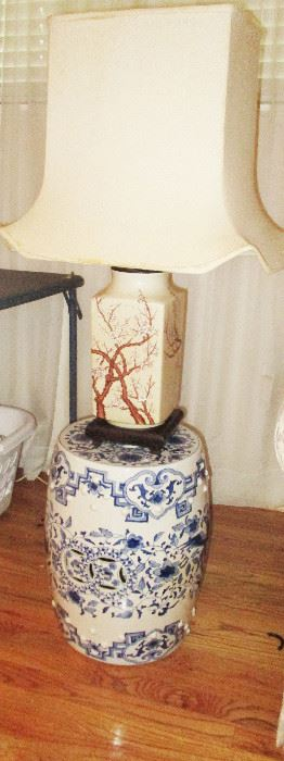 One of two blue and white oriental pieces (matching pair) as well as matching pair of lamps with oriental flair