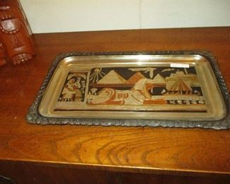 Silver plate with Egyptian Theme