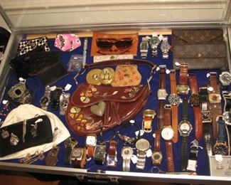 Extensive collection of men's watches and ladies' jewelry, Christian Dior saddlebag