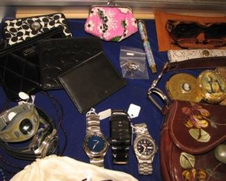 Extensive collection of men's watches and ladies' jewelry, purses, Coach wallets