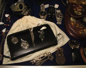Extensive collection of men's watches and ladies' jewelry, skeleton keys, coach purse