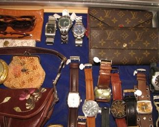 Extensive collection of men's watches and ladies' jewelry, Louis Vuitton clutches