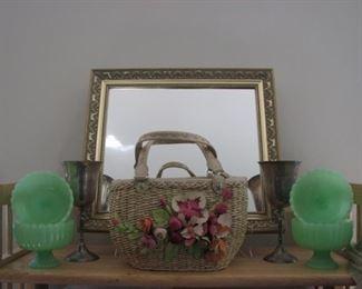 Green jadite pedestal berry bowls