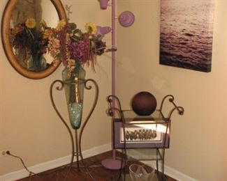 lavender light, floor vase, 2 tier server, lighthouse photo, oval mirror