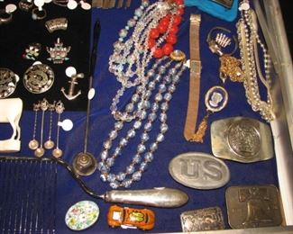 Vintage belt buckles and jewelry