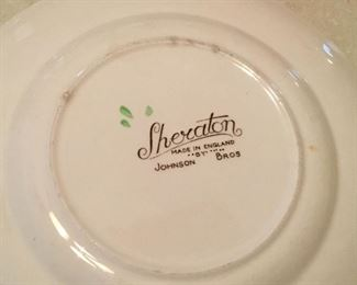 Vintage Sheraton china (floral center) by Johnson Brothers