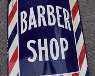 Porcelain Barber Shop Sign