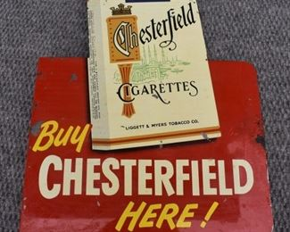 Rare Doublesided Chsterfield cigarettes sign