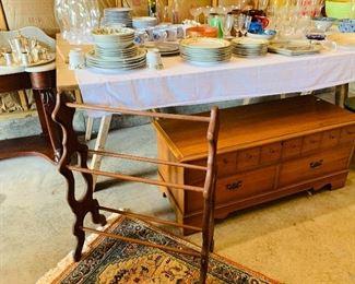 Vintage Glassware, Oak Quilt Rack
