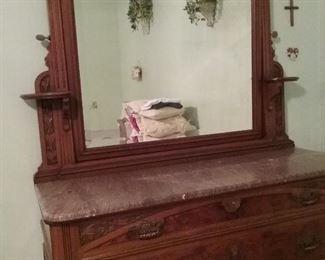 Antique marbled top dresser