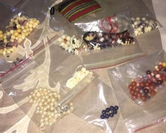 Bags of precious stones & pearls