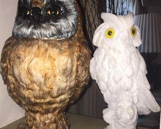 Alabaster & ceramic owls