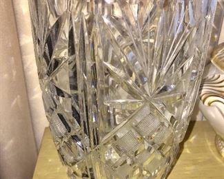 Tall cut glass vintage vase.